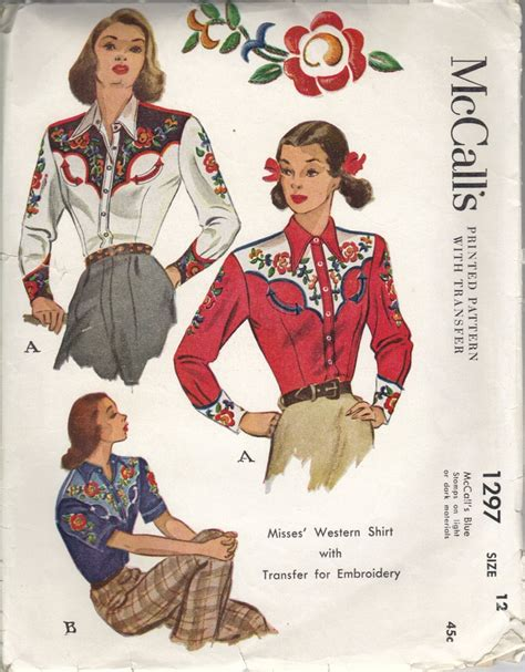 pattern western shirt 1940s mccalls 1297 pattern for western shirt with