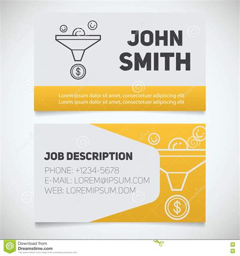business card sle template business card print template with sales funnel logo stock