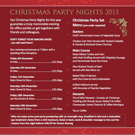 christmas party program christmas at the white horse hotel