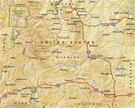 physical map of wyoming physical map of wyoming us physical map physical map of