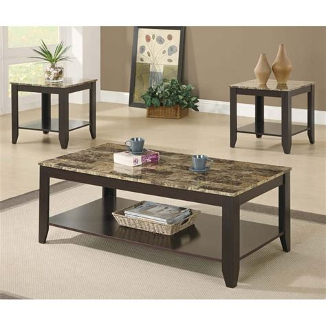 Marble Coffee Table Set 3 Faux Marble Top Coffee Table Set In Cappuccino I 7984p