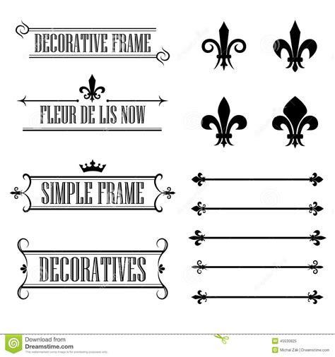 set  decorative frames deviders  borders fleur de