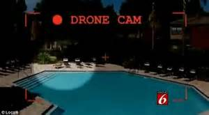backyard pool naked small drone built by medical student falls from sky over