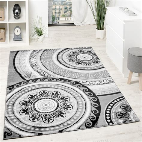 grauer teppich mit teppich orientalisch kreis ornamente grau anthrazit