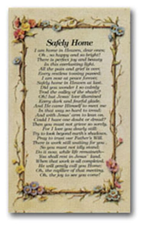 safely home prayer card