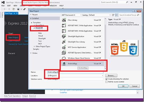 how to create apk android app development in html5 using visual studio 2012 express for web