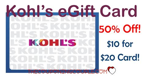Publix E Gift Card - 50 off kohls egift card 10 for a 20 kohls card