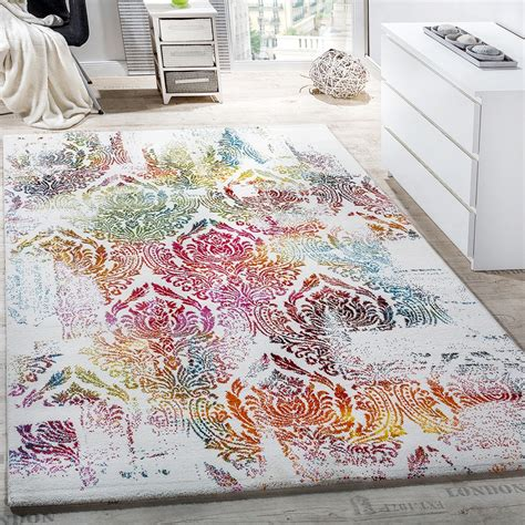 teppich 120x170 modern canvas design rug colourful decorative floral