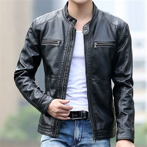 Lacoste Casual Pria Black leather jacket fashion stand collar pilot sheepskin