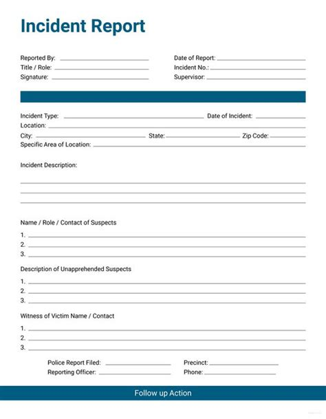 33 Incident Report Format Free Premium Templates Incident Report Template Pdf