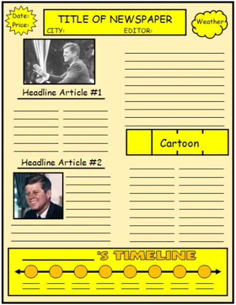 Newspaper Book Report Form by Biography Book Report Newspaper Templates Printable Worksheets And Grading Rubric