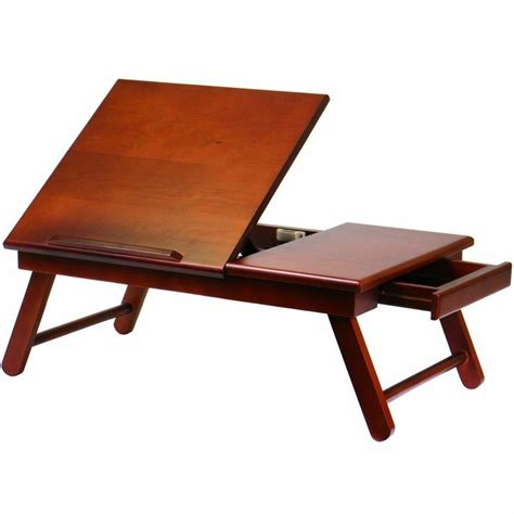 Laptop Table Desk Portable Reading Table Computer Laptop Stand Desk Bed Tray Walnut Desks