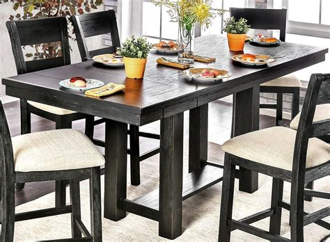 black counter height table thomaston brushed black counter height dining table