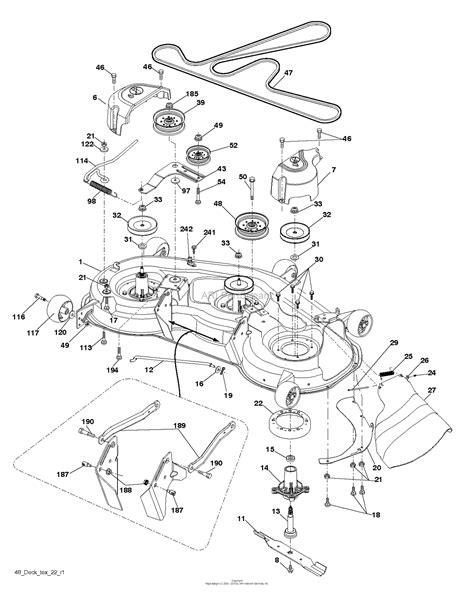 husqvarna yth    parts diagram  mower deck cutting deck