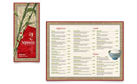 restaurant take out menu templates japanese restaurant take out brochure template design