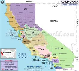 california area codes maps mostly