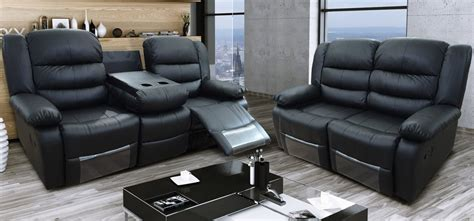 Black Recliner Sofa Set by Roma Recliner 3 2 Seater Bonded Leather Black