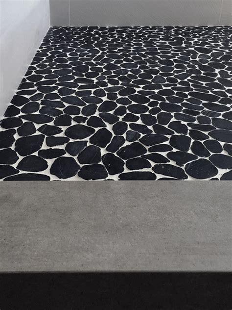 white pebble tiles bathroom black white sliced pebble tile floor modern bathroom