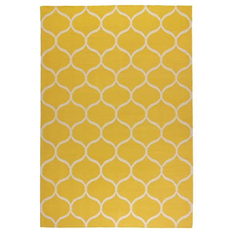 ikea rungs stockholm rug flatwoven handmade net pattern yellow