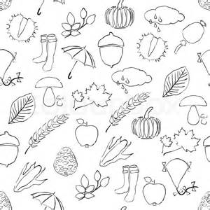 doodle seamless pattern with autumn pictures stock