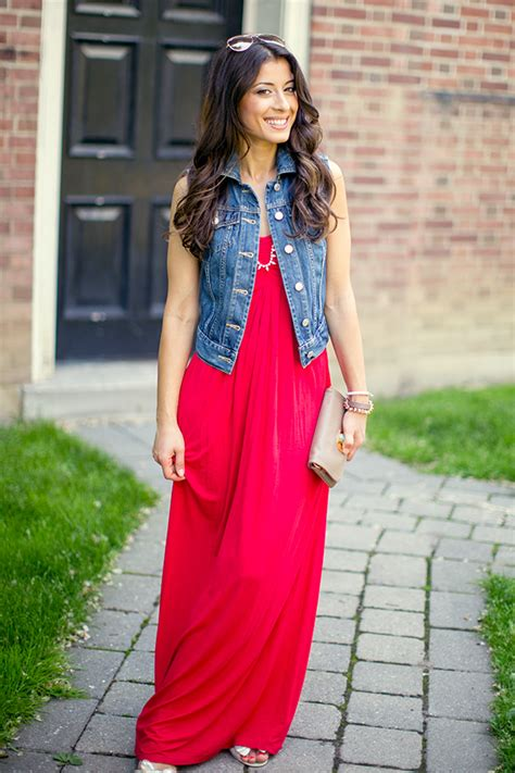 maxi dress and jean vest the luxy my
