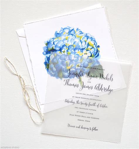 unique blue keepsake wedding invitations blue watercolor flower wedding invitations mospens studio
