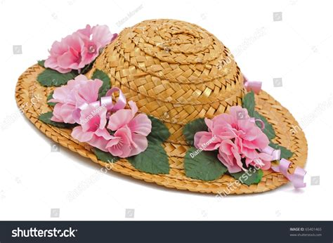 Flower Straw Hat straw hat pink flowers stock photo 65401465