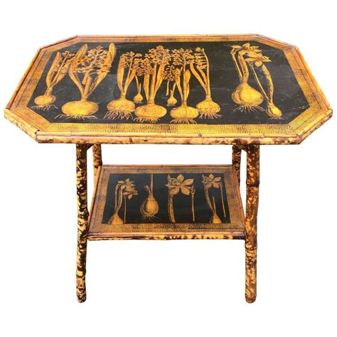 one of a bamboo and decoupage side table at 1stdibs