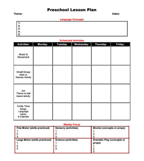 preschool lesson plan template 9 free sles