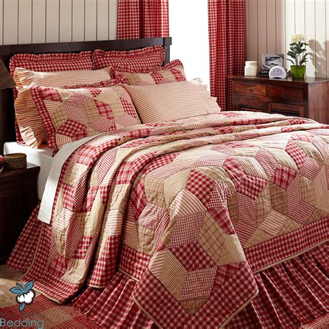 country quilt bedding sets red cream plaid patchwork chic french cottage country home
