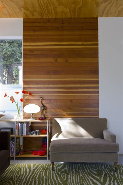 horizontal wood paneling living room modern with accent