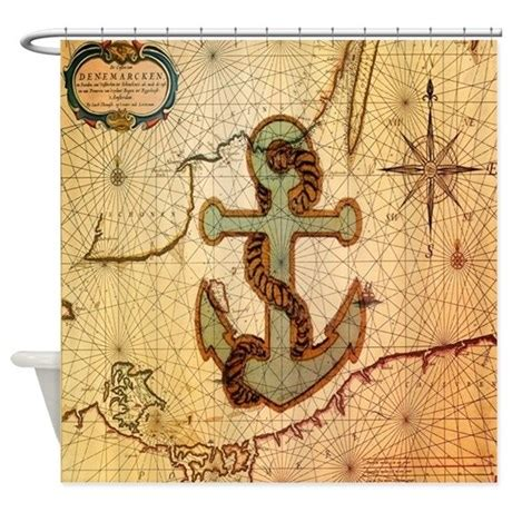 vintage nautical shower curtain vintage nautical map anchor shower curtain by listing