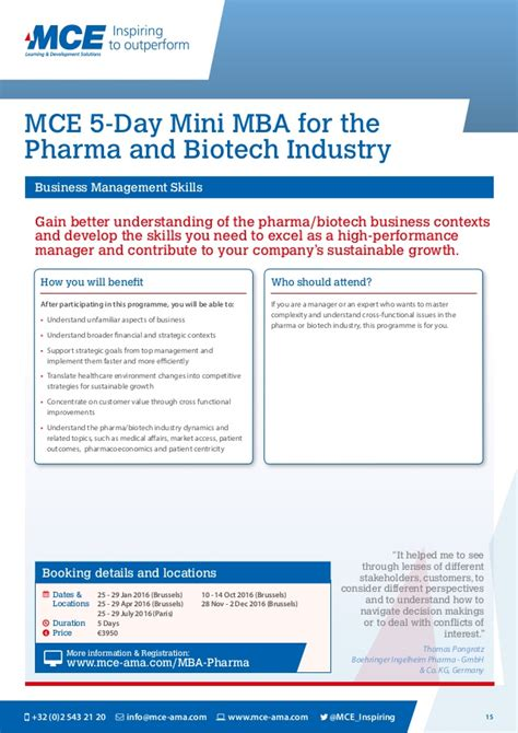 Mba Pharmaceutical Management Europe by Mce Open Enrolment Programmes 2016