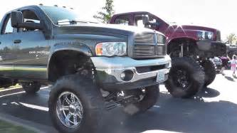 lifted dodge ram truck with big tires