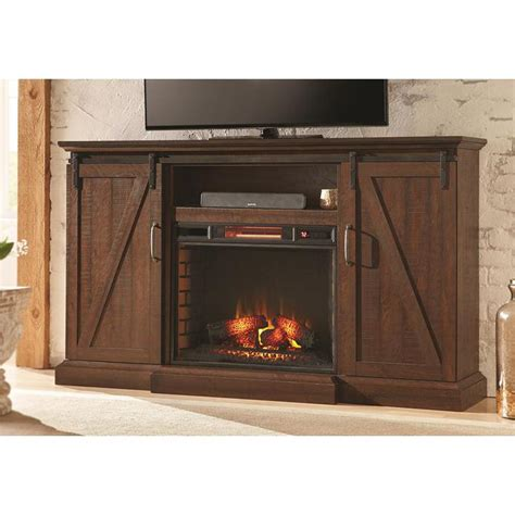 Rustic Electric Fireplace Home Decorators Collection Chestnut Hill 68 In Media Console Electric Fireplace In Rustic