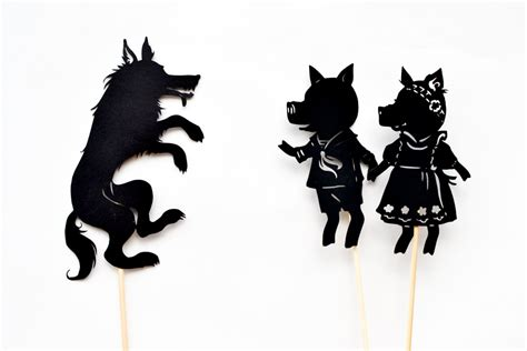 the three pigs puppet templates three pigs shadow puppet play with free printables