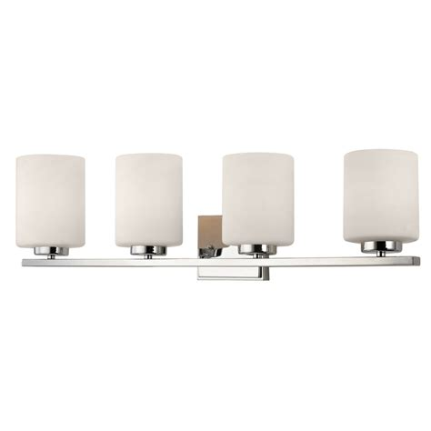 Contemporary Chrome Bathroom Light With Four Cylinder Bathroom Light Fixture Shades