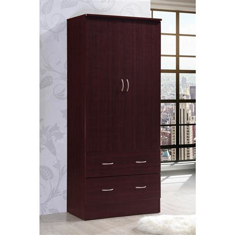 armoire home depot hodedah 2 door armoire with 2 drawers in mahogany hi29