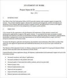 Construction Statement Of Work Template by Sle Statement Of Work Template 11 Free Documents