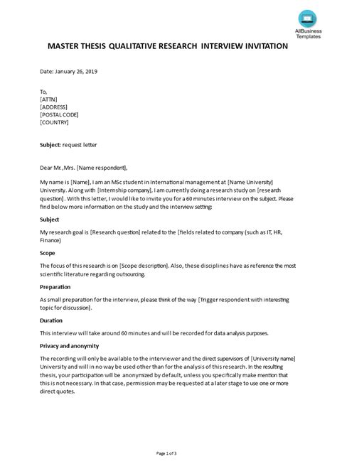 Interview Request Masterthesis | Templates at