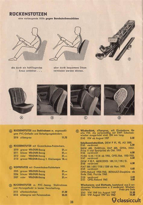 Vw Beetle Vase Vintage Vw Beetle Accessories Catalog 1957 1965 Classiccult