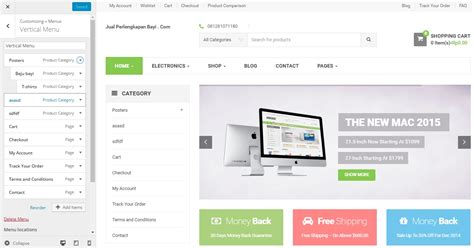 theme toko online woocommerce setting vertical menu dan category product di woocommerce