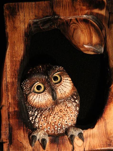custom  owl wood carving wall art  donna maries art