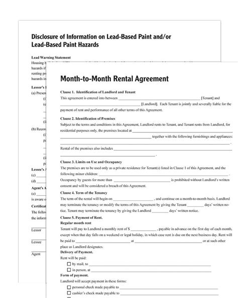 Month To Month Rental Agreement Forms And Instructions Rental Policy Template
