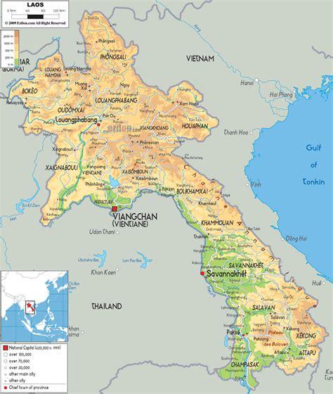 map of laos physical map of laos ezilon maps