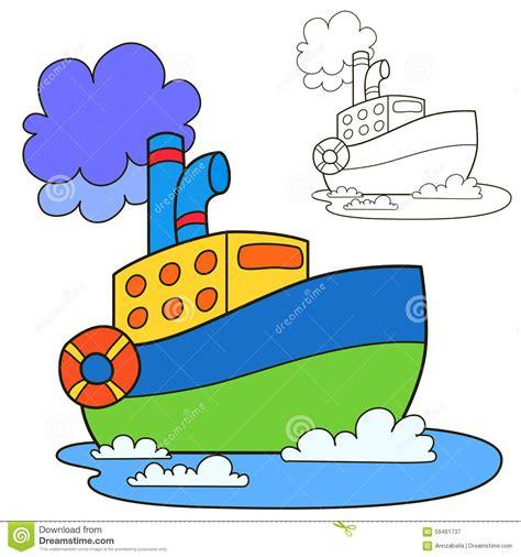 dessin bateau rouge bateau de moteur page de livre de coloriage illustration