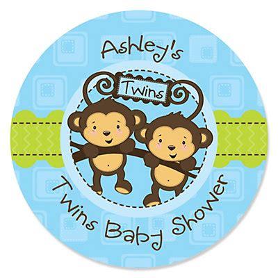 Monkey Stickers Baby Shower by Blue Monkey Boys Personalized Baby Shower Sticker