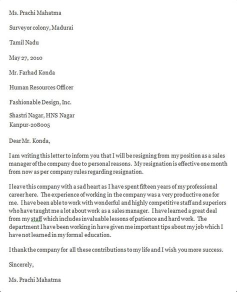 Professional Resignation Letter Format by Professional Resignation Letter Sle 4 Documents In Pdf Word