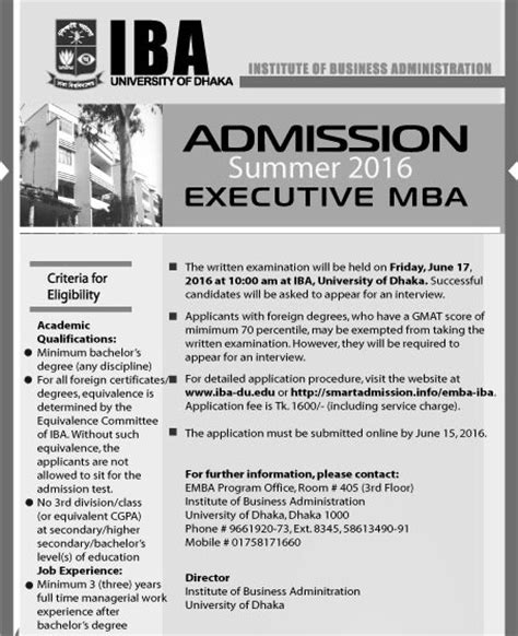 Mba Admission 2016 by Iba Mba Admission Circular 2018 60th Batch