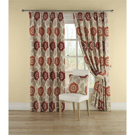 red floral drapes montgomery annoushka red floral pencil pleated readymade